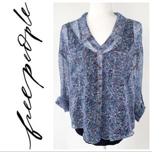 Free People Blue Floral Sheer Top Size Small